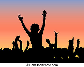 Outdoor concert - Silhouette of an audience at an outdoor ...