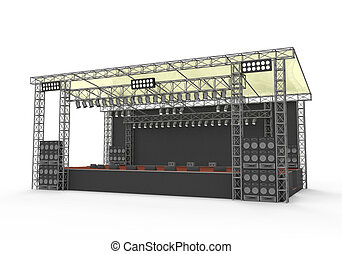 Outdoor Concert Stage isolated on white background. 3D...