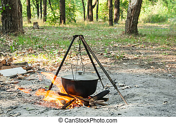 outdoor cooking a meal - Cooking outdoors in summer forest...