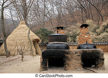 Outdoor cooking - Traditional Korean outdoor ovens at Suwon...