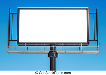 Outdoor empty advertising billboard, 3D rendering