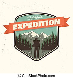 Outdoor expedition patch. Vector illustration.