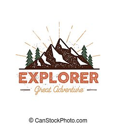 Outdoor explorer badge. Retro illustration of outdoor...