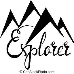 Outdoor explorer badge. Retro illustration of outdoor explorer.