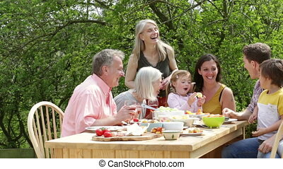 Outdoor Family Meal - Family are sitting outdoors in summer...