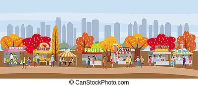 Outdoor festival with food trucks, awnings, tents, ice cream, coffee, hot dog, flowers, bakery, walking people, men and women buying and selling goods at park autumn. Flat cartoon vector illustration for event promo. Modern flyer or poster template for sale, template, vector illustration