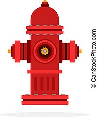 Outdoor fire hydrant vector flat material design isolated on...