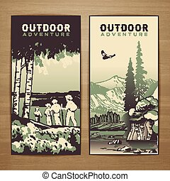 Outdoor flyer - Outdoor thematic vector card design with...