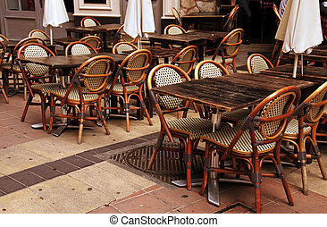 Outdoor french cafe in Old Town of Nice, France