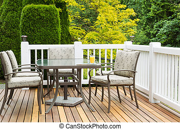 Outdoor Furniture on Cedar Wood Patio during nice day