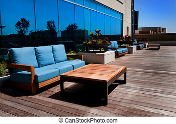 Outdoor Furniture on Wooden Deck - Image of modern outdoor...
