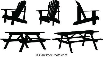 Outdoor Furniture - Silhouette set of outdoor picnic tables...