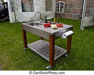 outdoor garden kitchen on wheels - Garden Kitchen