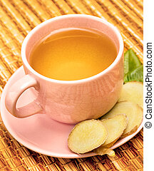 Outdoor Ginger Tea Means Refreshing Teacup And Spices