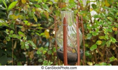 Outdoor glass lantern. Wat Saket Golden Mount , Bangkok,...