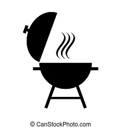 Outdoor grill vector. BBQ grill icon isolated on white background