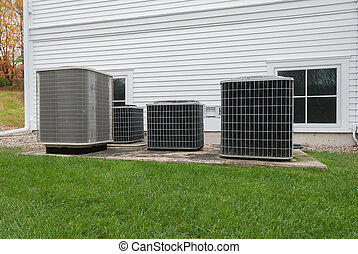 Outdoor heating and air conditioning units