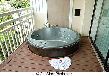 Outdoor jacuzzi at the luxury hotel, Phuket, Thailand