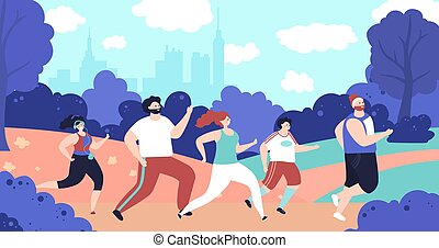 Outdoor jogging characters. Person running, park fitness workout people. Flat man woman run, marathon decent active athletes vector concept