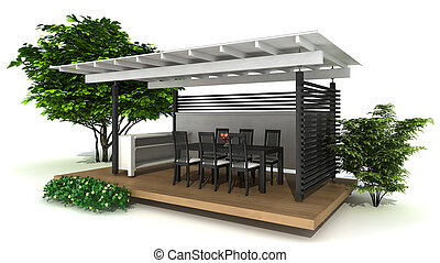 Outdoor kitchen - rendering of an outdoor kitchen and dining...