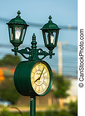outdoor lamp with the clock