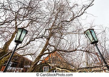 outdoor lanterns in country house yard in spring