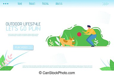 Outdoor Lifestyle Flat Landing Page Calls Go Play