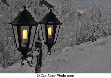 outdoor lights in the winter
