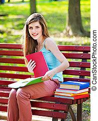 outdoor., livro, estudante