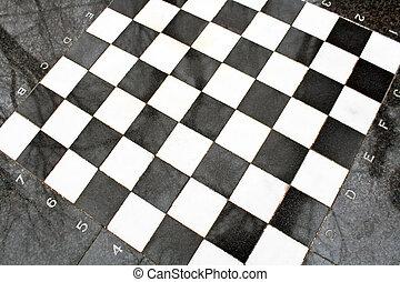 Outdoor marble chessboard