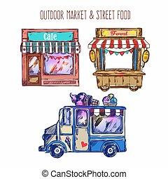 Outdoor Market Sketch Icon Set