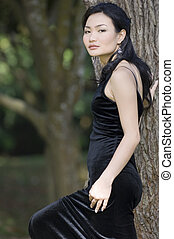 Outdoor Model 20 - A demure young chinese woman in a black...