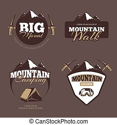 Outdoor mountain camping, alpinism vector emblems, labels,...