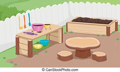 Outdoor Mud Kitchen Illustration