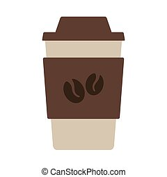 Outdoor Paper Cofee Cup Icon. Flat Color Design. Vector Illustration.