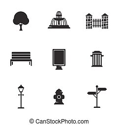 Outdoor, park elements icons set