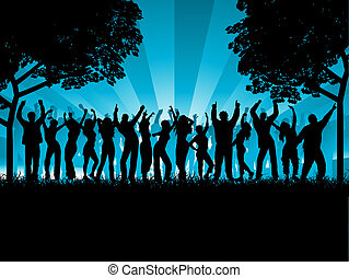 outdoor party - Silhouettes of lots of people dancing ...