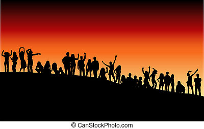 Outdoor party - Young people having a party on a hillside at...