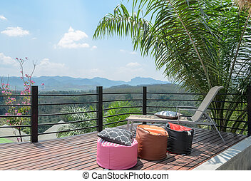 Outdoor patio with mountain view in Thailand - Beautiful...