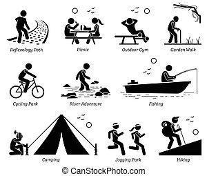 outdoor pihenés, szórakozási, életmód, és, activities.