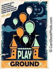 Outdoor playground poster template with castle and balloons...