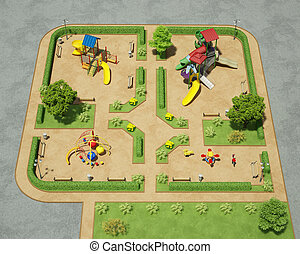 outdoor playground view from above 3d rendering