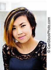 Outdoor Portrait Asian American Woman Lace And Leather