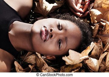 Outdoor Portrait Attractive African American Teen Girl