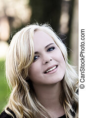 Outdoor Portrait Attractive Young Blond Woman Caucasian