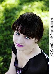 Outdoor Portrait Caucasian Teen Girl From Above
