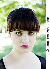 Outdoor Portrait Caucasian Teen Woman Sulky Expression