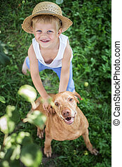 Handsome Young Boy and His Dog