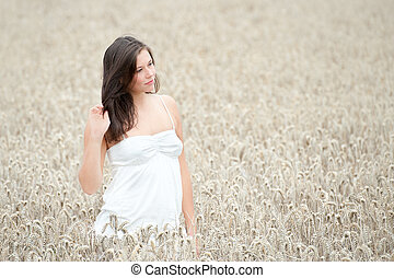 Outdoor portrait of a beautiful young woman