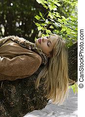 blond girl sleeping